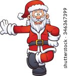 cartoon santa claus leaning on...   Shutterstock .eps vector #346367399