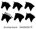 Vector Set Of Horse Head...