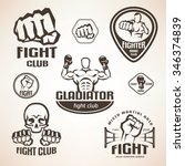 set of fighting club emblems ... | Shutterstock .eps vector #346374839