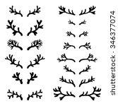 set of hand drawn deer horns... | Shutterstock .eps vector #346377074