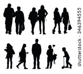 people silhouette walking and... | Shutterstock .eps vector #346394555