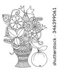 Doodle Black And White Vase Of...