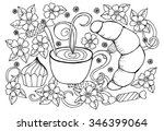 illustration with cup of coffee ... | Shutterstock .eps vector #346399064