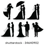 set of vector silhouettes of a... | Shutterstock .eps vector #34640902