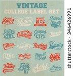 college typography label set   Shutterstock .eps vector #346426991
