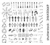 vector hand drawn arrows set... | Shutterstock .eps vector #346430669