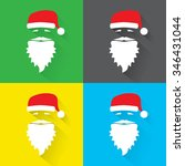 flat design vector set of santa ... | Shutterstock .eps vector #346431044