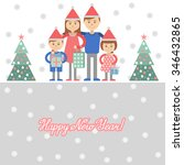 parents and kids with christmas ... | Shutterstock .eps vector #346432865