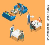 restaurant service isometric... | Shutterstock .eps vector #346446839