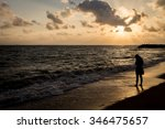 alone and sad at the beach... | Shutterstock . vector #346475657