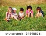 happy little children in grass... | Shutterstock . vector #34648816