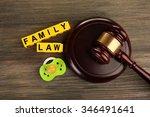 a gavel  a dummy and blocks... | Shutterstock . vector #346491641
