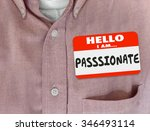 passionate word on red nametag... | Shutterstock . vector #346493114