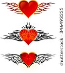 winged heart set of tattoo...