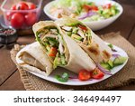 fresh tortilla wraps with... | Shutterstock . vector #346494497