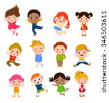 Stock vector group of kids collection 346503611