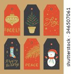 hand drawn christmas tags... | Shutterstock .eps vector #346507061