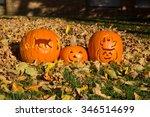 halloween  pumpkin carving  cat ... | Shutterstock . vector #346514699