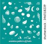seamless fruit pattern drawn in ... | Shutterstock .eps vector #346518239