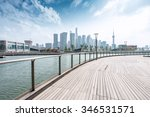 empty wooden road waterside and ... | Shutterstock . vector #346531571