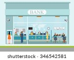 bank building exterior and... | Shutterstock .eps vector #346542581