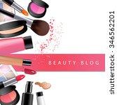 osmetics on table. frame for... | Shutterstock . vector #346562201