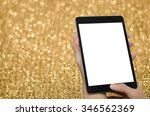 man hands holding blank screen... | Shutterstock . vector #346562369
