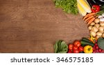 vegetables on wood. spring ... | Shutterstock . vector #346575185