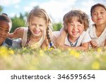 interracial group of children... | Shutterstock . vector #346595654