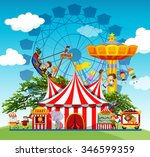 children and people at the... | Shutterstock .eps vector #346599359