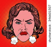 Retro Emoji rage anger boiling woman face pop art retro style