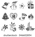 vector christmas doodle icons... | Shutterstock .eps vector #346602854
