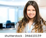 smiling young businesswoman... | Shutterstock . vector #346610159
