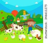 farmer and farm animals... | Shutterstock .eps vector #346611275