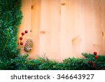 christmas ornaments on wooden... | Shutterstock . vector #346643927