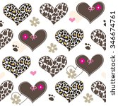 seamless pattern with leopard... | Shutterstock .eps vector #346674761