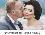 beautiful brunette bride... | Shutterstock . vector #346675319