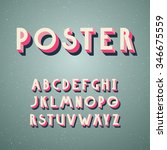 deco vintage poster typeface ... | Shutterstock .eps vector #346675559