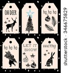 christmas hand drawn tags | Shutterstock .eps vector #346675829