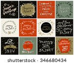 set of 12 merry christmas and... | Shutterstock .eps vector #346680434