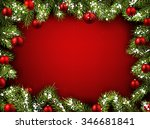 christmas red background with... | Shutterstock .eps vector #346681841