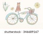 pastel color vintage bicycle   | Shutterstock .eps vector #346689167