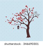 silhouette autumn tree with ... | Shutterstock .eps vector #346690301