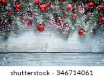christmas fir tree decoration... | Shutterstock . vector #346714061