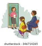 school principal talking to... | Shutterstock .eps vector #346714265