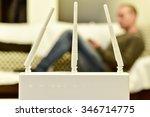 closeup of a wireless router... | Shutterstock . vector #346714775