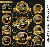 golden retro badges and labels... | Shutterstock .eps vector #346723199