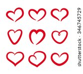 hearts set. hand drawn. vector... | Shutterstock .eps vector #346745729