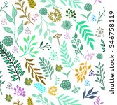 seamless vintage winter pattern ... | Shutterstock .eps vector #346758119
