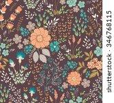 seamless vector floral pattern  ... | Shutterstock .eps vector #346768115